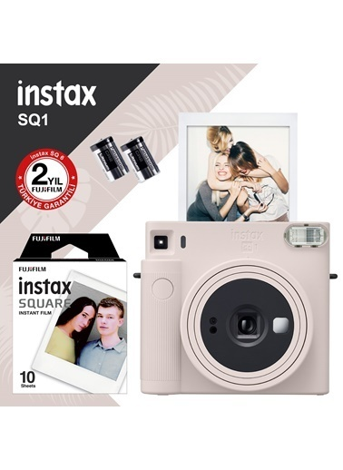 Fujifilm Instax SQ1 Beyaz Fotoğraf Makinesi ve 10lu Kare Film Beyaz